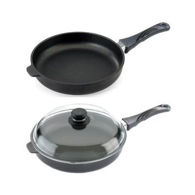 Frying Pan 24cm x 5cm high with detachable handle & oven-proof glass lid